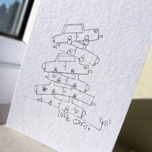 Love Cars - Hand-Drawn Card by fosscards