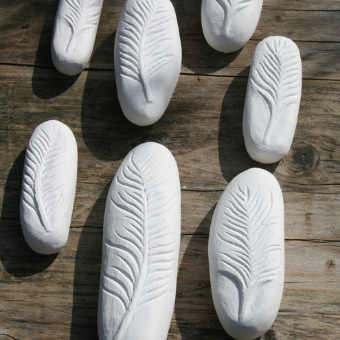 Lettercarved plaster Feather, by Jo Sweeting